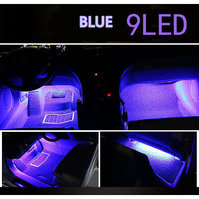12V 4PCS Blue 9 LED Foot Interior Accessories Car Atmosphere Light Universal