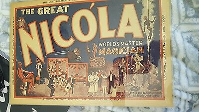 THE GREAT NICOLA - WORLD'S MASTER MAGICIAN - small poster vintage rare Magic