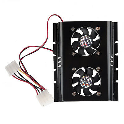 Black 3.5 SATA IDE Hard Disk Drive HDD 2 Fan Cooler for PC W3Q1 L1Y6