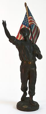 Vintage Singing Man w/ U.S. Flag Sculpture/Statue USA  4th of July  (Not Bronze)