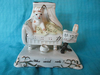 Victorian fairing spotted DOG IN BED - Who said rats? English china, ceramic