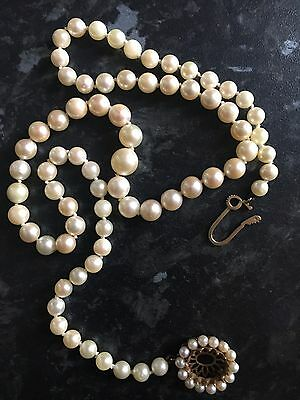 Pearl Necklace 9ct Gold Clasp 50 Cm Long
