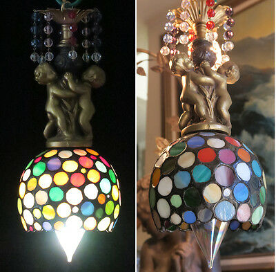 Vintage slag glass Cherub brass tole spelter SWAG Lamp chandelier beaded Rainbow