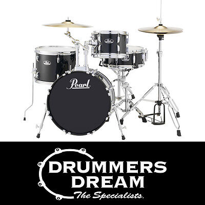 Pearl Roadshow 4 pce Drum Kit Gig Ready with Cymbals & Hardware Jet Black Finish