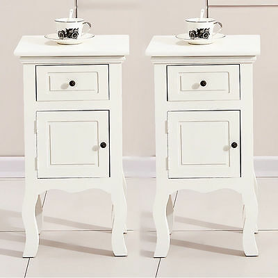 Pair of White Chic Wooden Bedside Table with Drawer Door Storage Unit Nightstand