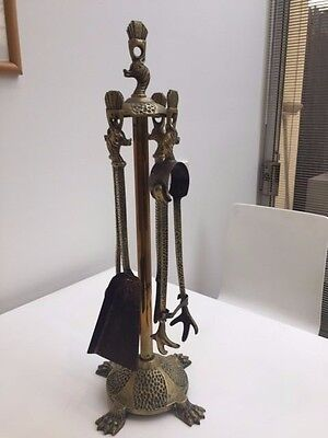 Antique Brass Fire Tools and stand