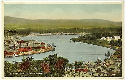 LONDONDERRY VIEW ON THE FOYLE  - 1949 used Valentine's Northern Ireland postcard