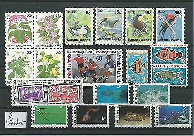 10.928/ Lot / Mixture ** MNH Wallis et Futuna / Marshall Isl Fauna Tiere