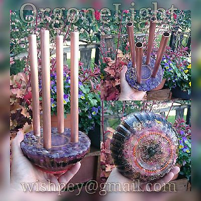Orgone 4 pipe chembuster flower of life Amethyst Lemurian crystal points Copper