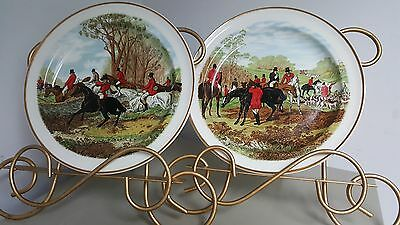 EXC 2 Wood and Sons The Crown Suppliers,ENGLAND 1989 PLATES HORSE HUNT SCENE