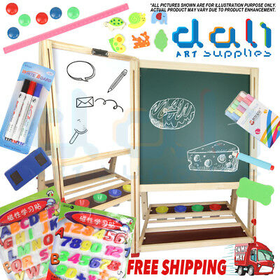 4 in 1 146CM Kids Childrens Wooden Art Easel Activity Whiteboard Blackboard