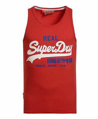 New Mens Superdry Factory Second Vintage Logo Duo Entry Vest Top Red