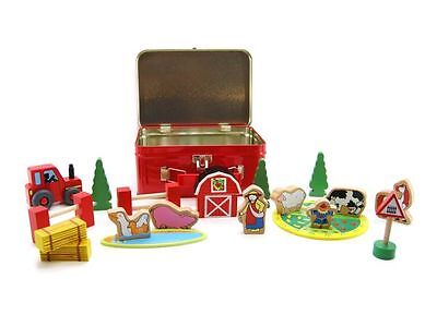 Wooden farm set in a tin