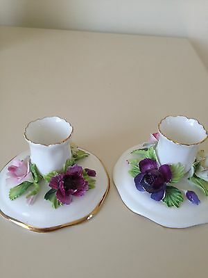 Vintage candle stick holders  fine bone china crown Staffordshire  pair