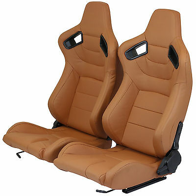 Pair Of Brown/tan Pvc Leather Fully Reclining Bucket Car Seats Set Sports Racing