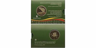 """Lithuania 5 """"25 Years Independence"""" Coloured coin coin Lithuania coincard"""
