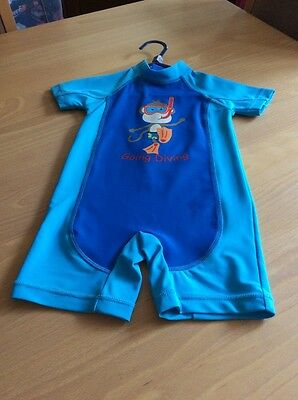 baby boys clothes 12-18 months Blue Monkey Going Diving Sun Protection Sunsuit