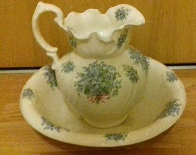 Large Vintage Staffordshire Ironstone Water Jug And Bowl Vgc