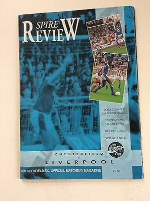 Chesterfield v Liverpool 1992-93 (League Cup R2 2nd leg) + Directors Box tickets
