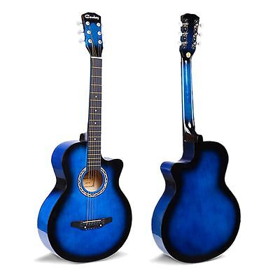 "1x BLUE Acoustic Classic Guitar Package 3/4 Size 38"" Beginner Student Adult UK"