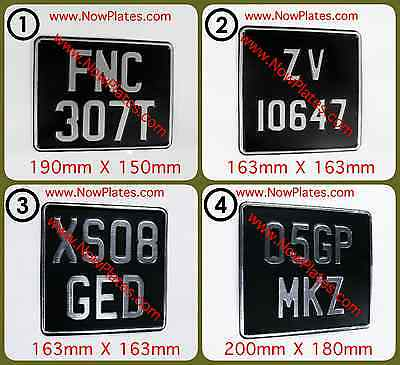 Motorcycle Number Plate Black & Silver or Black & Chrome (+) Pressed Plate x 1