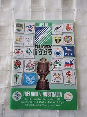 Ireland v Australia Rugby programme Rugby World Cup 1999 10 Oct 1999