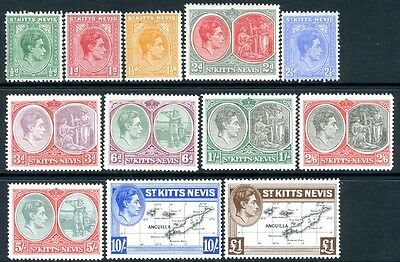 ST KITTS-NEVIS-1938-50 Set of 12 Values Sg 68a-77f MOUNTED MINT V16982
