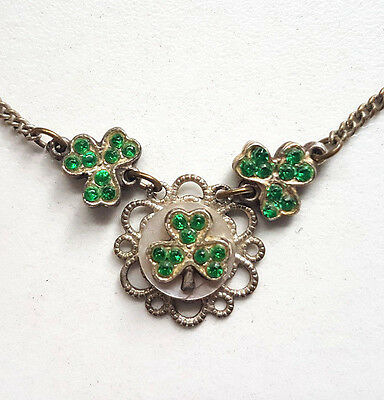 Vintage Edwardian English Green Rhinestone MOP Lucky Clover Necklace