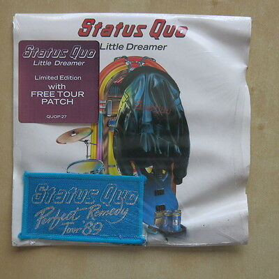 "STATUS QUO Little Dreamer UK 7"" with sew on patch Vertigo QUOP27 1989 Sealed"
