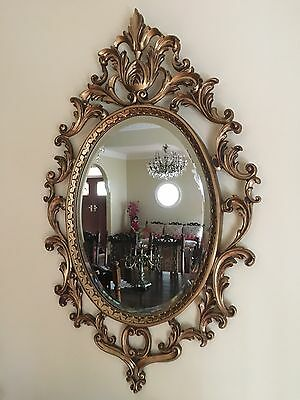 EXQUISITE ORNATE VTG FRENCH PROVINCIAL STYLE BEVELED MIRROR GOLD GILT 76cm x 47