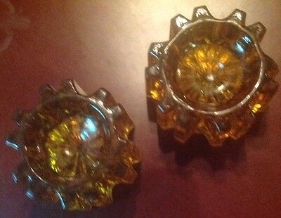 Two Vintage Amber Glass Piano Feet/Insulators/Cup