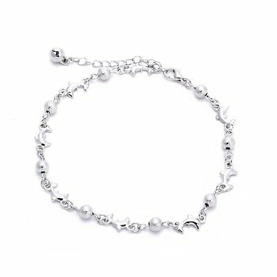 Women Ankle AnkleBraceleLink Chain Charm Beads White Chic H2H2