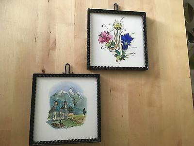 Danischburg Hand Painted Tile In Iron (metal) Frame X 2