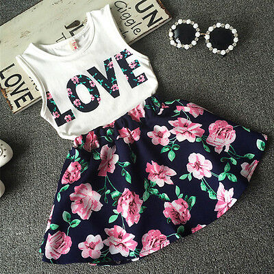 Toddler Baby Kids Girl Dress Tank Vest Tops T-Shirt+Skirt Outfit Set Clothes US