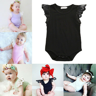 Newborn Toddler Baby Girls Lace Romper Jumpsuit Bodysuit Outfits Infant Clothes