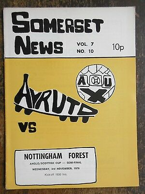 Ayr United V Nottingham Forest (Anglo-Scot Cup S-F) Football Programme 3-11-1976