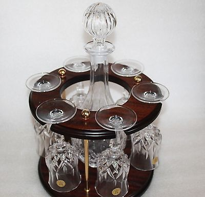 Rca Crystal Decanter & 6 Wine Glasses On Mahogany Stand Opera Pattern