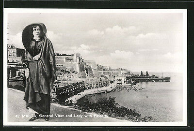 alte AK Malta, General View and lady with Faldetta