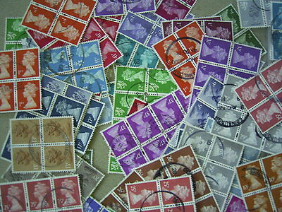 GREAT BRITAIN USED MACHIN STAMPS IN BLOCKS, x 80 INCLUDING REGIONALS AND HIGHER