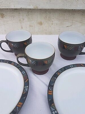 collection of denby marrakesh spare x3 cups x2 side plates