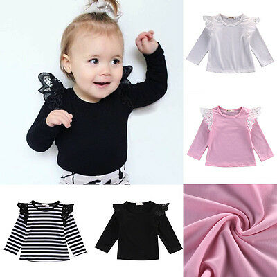 US Toddler Baby Girl Toddler Kids Clothes Long Sleeve Lace T-shirts Tops Outfits