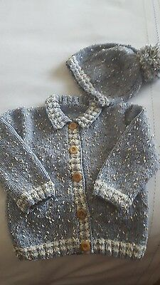 Baby Boys Hand Knitted Jacket and Slouchy Hat Set 9-12mths