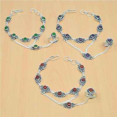 Wholesale 3Pc 925 Silver Plated Carnelian Bracelet-Ring Bridal Hathphoollot