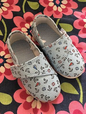 Mothercare New Canvas Summer Shoes Size 6 (23) Blue Anchors Nautical Boys Girls
