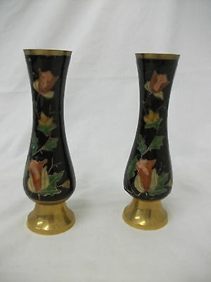 Pair Of Brass Vases Coloured With Flowers On Black Background - 19 Cm Tall