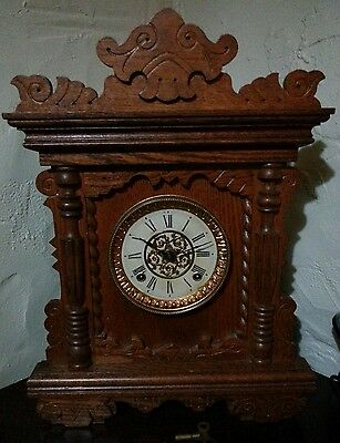 Antique Vintage Oak Ansonia Mantle Clock 1901