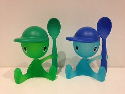 Alessi Cico Egg Holder with Spoon Pair - Green & Blue