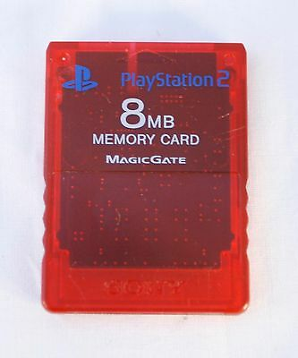 Official Sony PlayStation 2 8mb Memory Card Trans Red
