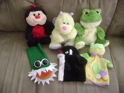 """LOT OF 6 PLUSH HAND PUPPETS 10"""" - 3 KELLYTOY, 1 BESTEVER and 2 others"""