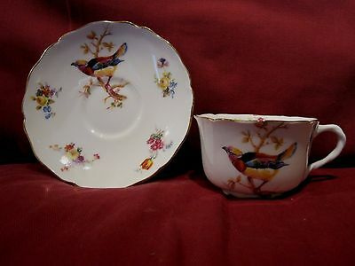 Beautiful 1920/30's Royal Doulton Cabinet Cup And Saucer Bird And Flower Design